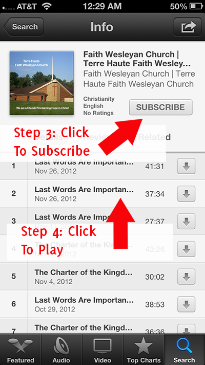 instructions for subscribing to the Faith Wesleyan Church podcast